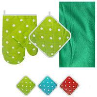 Кухонный набор Peas R84006, рукавица + прихватка + полотенце, разные расцветки, ткань, набор для кухни,
