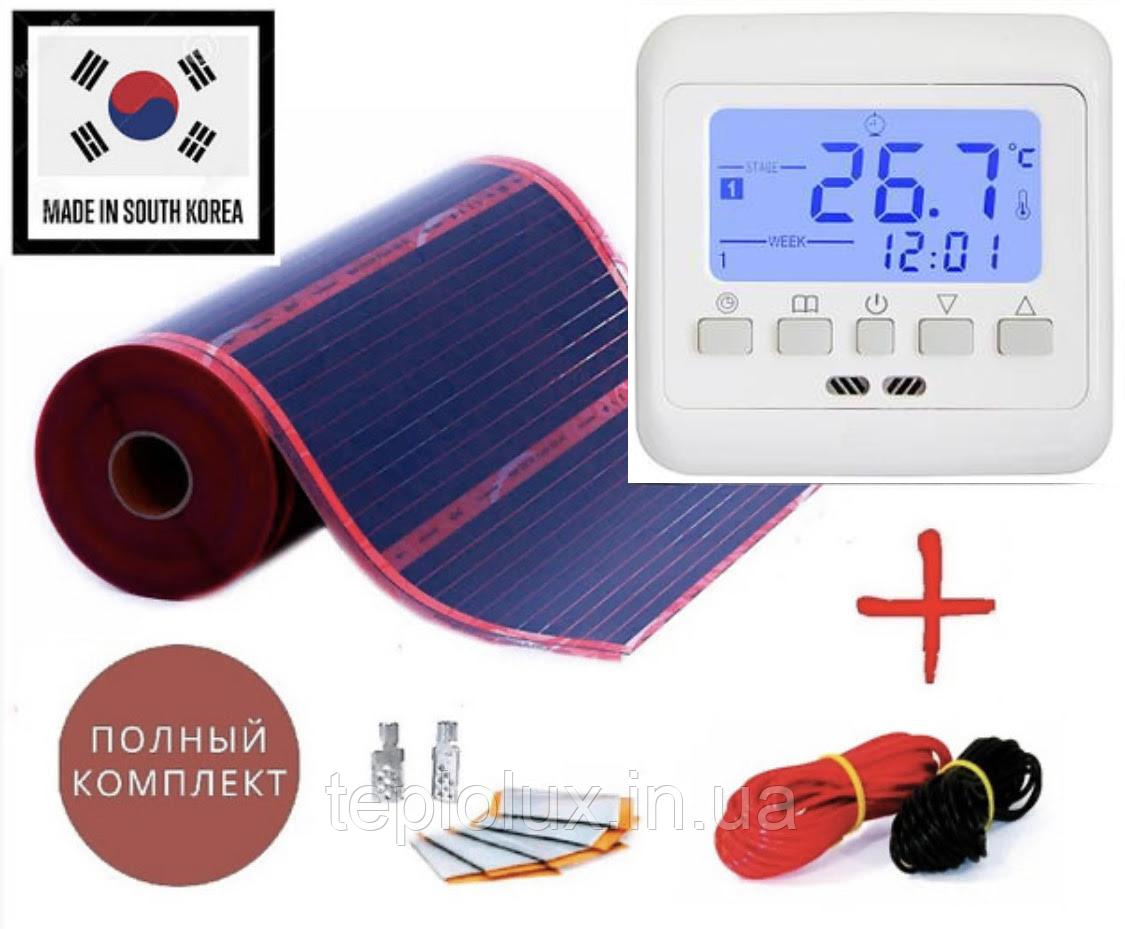 12м2. Комплект саморегулюючого інфрачервоної теплої підлоги Rexva з програмованим терморегулятором 08