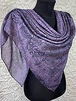 Женский хлопковый темно-сиреневый платок в этническом стиле (цв.9)