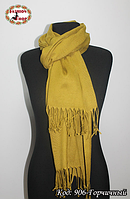 Женский горчичный шарф из пашмины