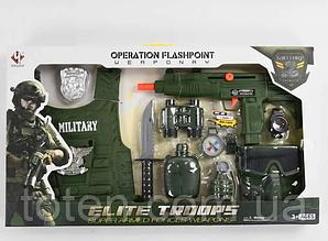 Набір військового M013 бронежилет, автомат, маска, бінокль, фляга, граната, ніж тд.