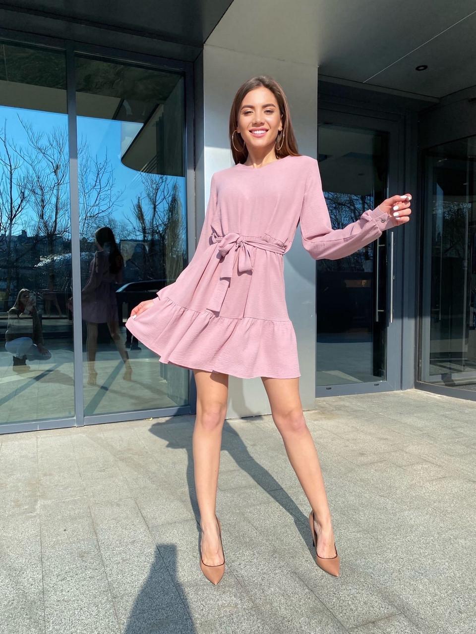 Вільне плаття з довгим рукавом, спідниця з широким воланом, 00745 (Пудровий), Розмір 42 (S)