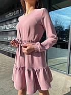 Вільне плаття з довгим рукавом, спідниця з широким воланом, 00745 (Пудровий), Розмір 42 (S), фото 2