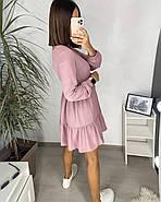 Вільне плаття з довгим рукавом, спідниця з широким воланом, 00745 (Пудровий), Розмір 42 (S), фото 3