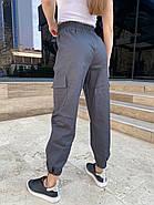 Женские коттоновые джоггеры на резинке, 00740 (Темно-серый), Размер 44 (M), фото 2
