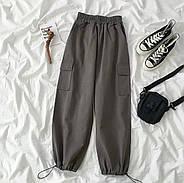 Женские коттоновые джоггеры на резинке, 00740 (Темно-серый), Размер 44 (M), фото 4