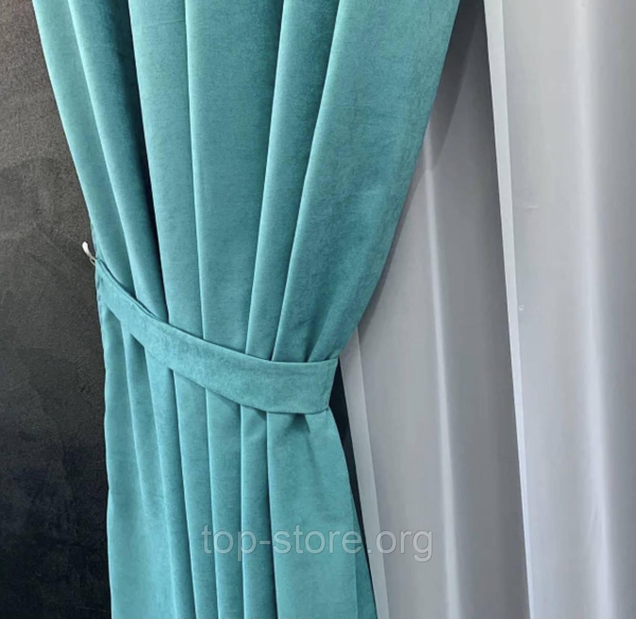 Комплект штор на тасьмі з тюлем Штори мікровелюр + тюль шифон Штори з підхватами Колір Бірюза