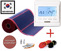 2м2. Комплект саморегулюючого інфрачервоної теплої підлоги Rexva з програмованим терморегулятором Е51, фото 1