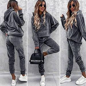 Серый велюровый спортивный костюм (Код MF-506) Lр.