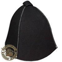 """""""Классика"""" черная, шапка для сауны и бани"""
