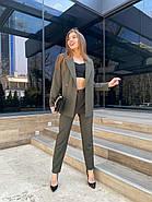 Жіночний лаконічний костюм двійка, 00738 (Хакі), Розмір 46 (L), фото 2