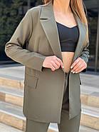 Жіночний лаконічний костюм двійка, 00738 (Хакі), Розмір 46 (L), фото 3