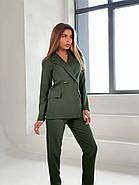 Жіночний лаконічний костюм двійка, 00738 (Хакі), Розмір 46 (L), фото 4