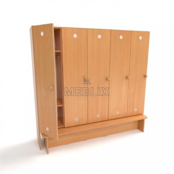 Шкаф детский 5-ти секционный с лавкой. Шкаф для детской раздевалки