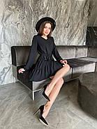 Повседневное женское платье с креп-жатки с длинным рукавом, 00744 (Черный), Размер 46 (L), фото 2