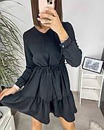 Повсякденне жіноче плаття з креп-жатки з довгим рукавом, 00744 (Чорний), Розмір 46 (L), фото 3