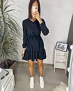 Повседневное женское платье с креп-жатки с длинным рукавом, 00744 (Черный), Размер 46 (L), фото 4