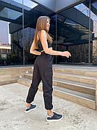 Жіночі модні штани на резинці і кишенями з боків, 00742 (Чорний) ,Розмір 48 (XL), фото 2