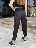 Жіночі модні штани на резинці і кишенями з боків, 00742 (Чорний) ,Розмір 48 (XL), фото 3