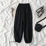 Жіночі модні штани на резинці і кишенями з боків, 00742 (Чорний) ,Розмір 48 (XL), фото 4