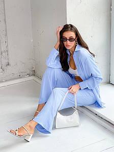 Р. 42-48 Женский летний брючный костюм с рубашкой в стиле оверсайз Голубой, 42/44