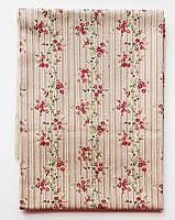Тканина х\б відріз 30х50 (смужка з квіточками), фото 1