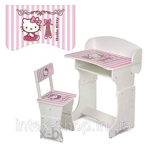 Детская парта (арт.301-2) регулируемая по высоте Hello Kitty (бело-розовая)