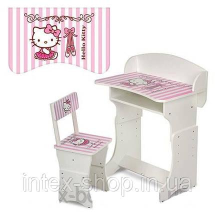 Детская парта (арт.301-2) регулируемая по высоте Hello Kitty (бело-розовая), фото 2