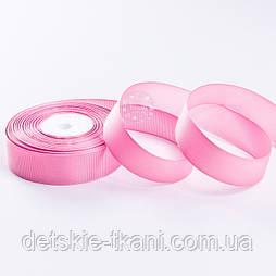 Репсова стрічка шириною 25 мм рожевого кольору, метражем