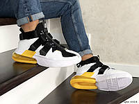 Кроссовки мужские найк в стиле 8824 Nike Air Force 270 белые с чорним\желтые