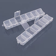Контейнер для Бисера и Бусин, Пластик, Прозрачный, Прямоугольный, 7 Отсеков, Размер: 15.5х3.3х1.8 см, 1 пара