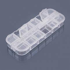 Контейнер для Бисера и Бусин, Пластик, Прозрачный, 12 Отсеков, Размер: 13х5х1.5 см, 1 шт