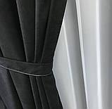 Комплект штор на тесьме с тюлем Шторы микровелюр + тюль шифон Шторы с подхватами Цвет Черный, фото 3