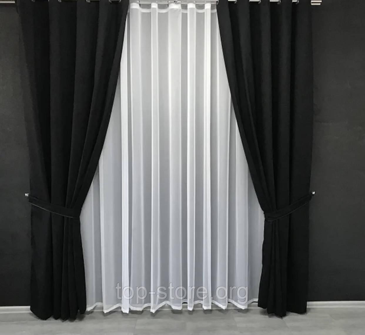 Комплект штор на тесьме с тюлем Шторы микровелюр + тюль шифон Шторы с подхватами Цвет Черный