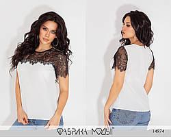 Легкая комбинированная блузка с кружевом  с 42 по 52 размер