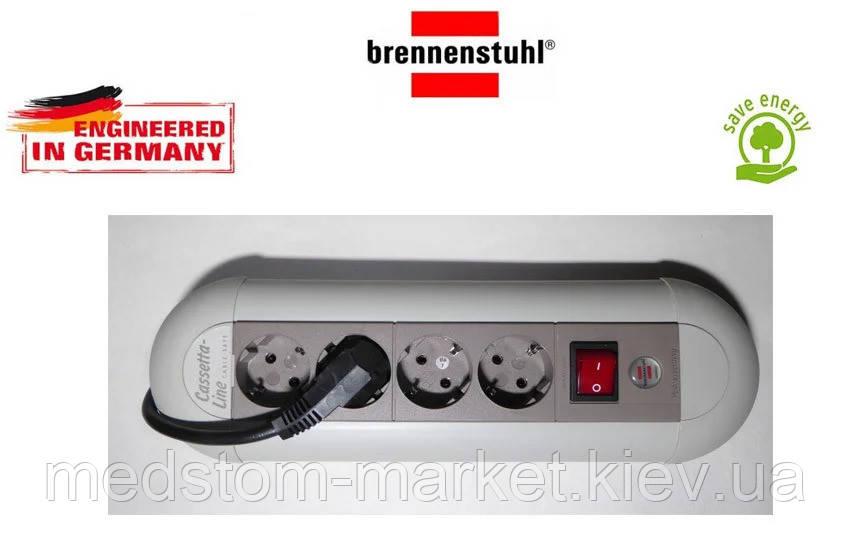 Подовжувач Brennenstuhl Casseta - Line на 4 розетки з кнопкою сірий 1,8 м