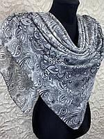 Женский хлопковый белый платок в этническом рисунком (цв.12)