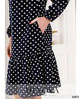Милое платье в горошек с оборкой на подоле с 46 по 68 размер, фото 4