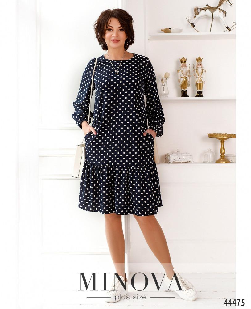Милое платье в горошек с оборкой на подоле с 46 по 68 размер