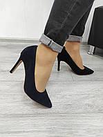 Сині замшеві туфлі на обтяжной шпильці в наявності, фото 1