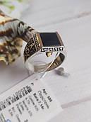 Перстень чоловічий з оніксом та золотими пластинами