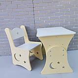 """Дитяча парта """"Місяць і зірки"""" і 1 стілець, фото 3"""