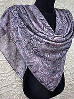 Женский хлопковый грязно-розовый платок в этническом рисунком (цв.13)