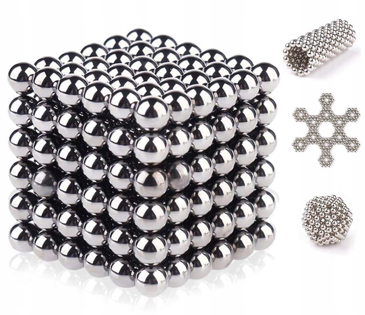 Головоломка Неокуб Neocube 216 кульок 5мм в металевому боксі сріблястий Головоломка магнітна Elite-5mm