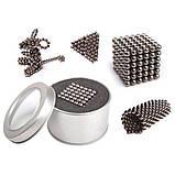 Головоломка Неокуб Neocube 216 кульок 5мм в металевому боксі сріблястий Головоломка магнітна Elite-5mm, фото 2