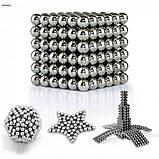 Головоломка Неокуб Neocube 216 кульок 5мм в металевому боксі сріблястий Головоломка магнітна Elite-5mm, фото 3