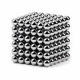 Головоломка Неокуб Neocube 216 кульок 5мм в металевому боксі сріблястий Головоломка магнітна Elite-5mm, фото 6