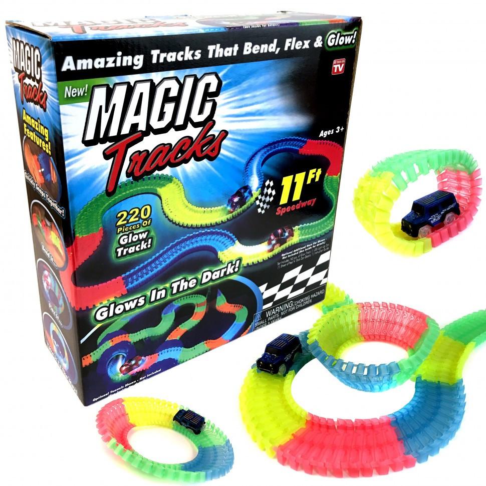 Детский набор - гоночная трасса MAGIC TRACК 220 деталей / Mеджик Трек - Гибкая автотрасса с двумя машинками