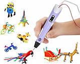 3D Ручка PEN-2 з LCD-дисплеєм + Пластик, Ручка для 3Д малювання / 3Д ручка дитяча - Фіолетова, фото 4
