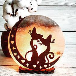 Соляная лампа Коты на Луне №2, 3-4 кг, (18*18*6 см)